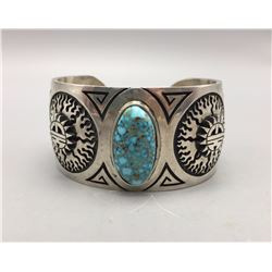 Nice Hopi Bracelet with Great Turquoise