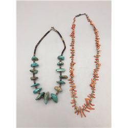 2 Necklaces, Turquoise and Coral