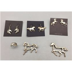 Sterling Silver Horse Theme Jewelry Lot
