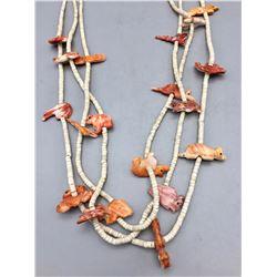 3 Strand Carved Spiney Oyster Necklace
