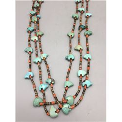 3 Strand Carved Turquoise Necklace
