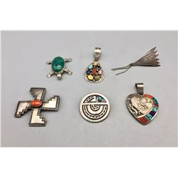Group of 6 Pendants and Pins