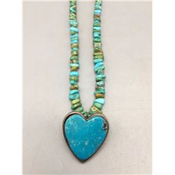 Turquoise and Sterling Silver Heart Necklace