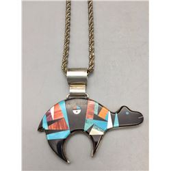 Navajo Inlay Bear Pendant