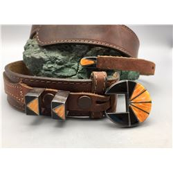 Four Piece Inlay Belt Buckle Set with Belt