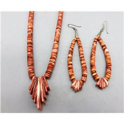 Spiny Oyster Necklace and Earring Set