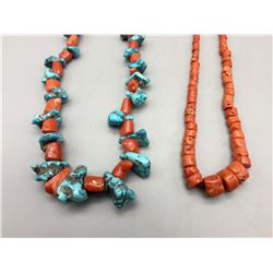 Two Coral and Turquoise Necklaces