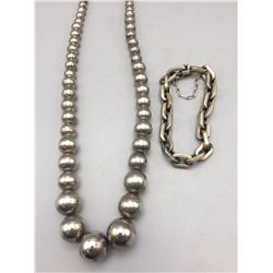 Sterling Silver Necklace and Bracelet - Mexico
