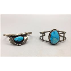 Two Turquoise and Sterling Silver Bracelet