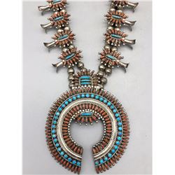 Coral and Turquoise Zuni Needlepoint Squash