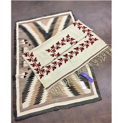 Vintage Navajo Textile and Blanket with Ribbon