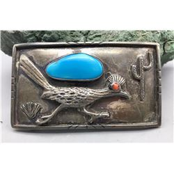 Vintage Turquoise and Sterling Belt Buckle