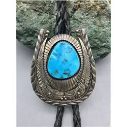 Vintage Turquoise & Sterling Silver Bolo