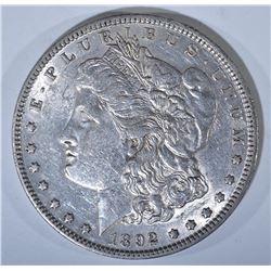 1892 MORGAN DOLLAR, AU