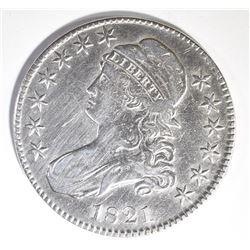 1821 BUST HALF DOLLAR, VF/XF cleaning