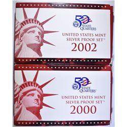 2000 & 2002 U.S. SILVER PROOF SETS