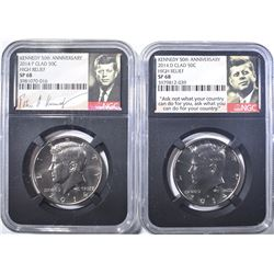 2014-P,D 50TH ANN. KENNEDY HALF NGC SP-68