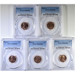 (5) 1973 S LINCOLN CENTS