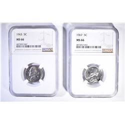 1963 AND 1967 JEFFERSON NICKELS