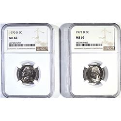 1970 D AND 72-D JEFFERSON NICKELS