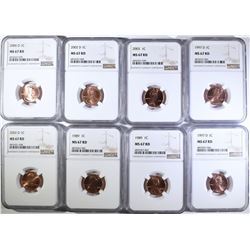 (8) LINCOLN CENTS NGC MS-67 RD