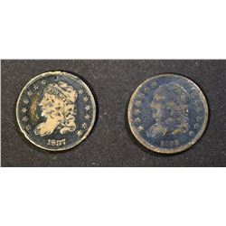 1835 & 1837 BUST HALF DIMES, FINE