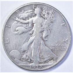 1938-D WALKING LIBERTY HALF DOLLAR, VF/XF