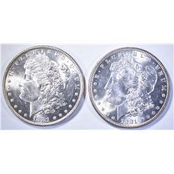1881 & 81-O MORGAN DOLLARS, CH BU FLASHY!