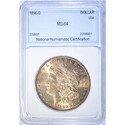 1890-S MORGAN DOLLAR, NNC CH/GEM BU