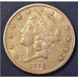 1893-S $20.00 GOLD LIBERTY, XF