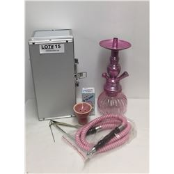 PINK HOOKA IN CASE AND A 3-IN-1 HEBA FILTER