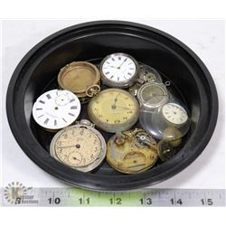 ESTATE LOT OF POCKET WATCHES AND PARTS.
