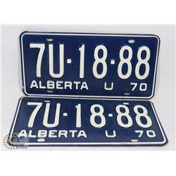 SET OF 2 NEW ALBERTA 1970 LICENSE PLATES.