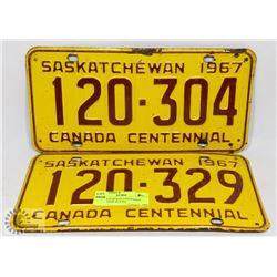 2 SASKATCHEWAN CENTENNIAL 1967 LICENSE PLATES.