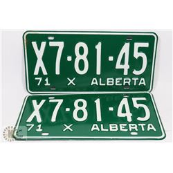 SET OF 2 NEW ALBERTA 1971 LICENSE PLATES.
