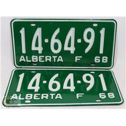SET OF 2 NEW ALBERTA 1968 LICENSE PLATES.