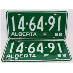 SET OF 2 NEW ALBERTA 1968 LICENSE PLATES.