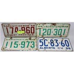 3 SASKATCHEWAN LICENSE PLATES (1964, 1958) AND 1