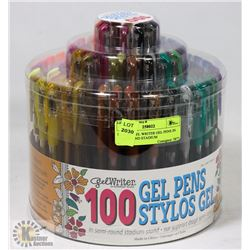 NEW 100 GEL WRITER GEL PENS IN SEMI ROUND STADIUM