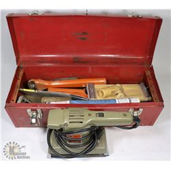RED TOOL BOX WITH PLANER AND MORE.