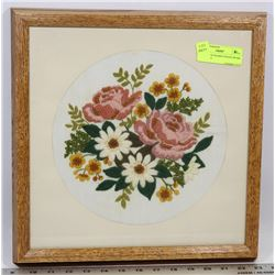 HANDMADE FRAMED NEEDLEWORK ART 14 X 14