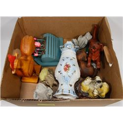 BOX OF GARDEN ORNAMENTS AND MORE