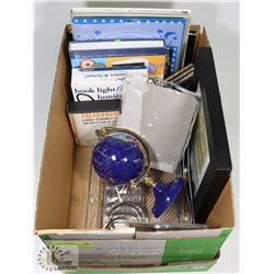 BOX WITH ASSORTED ITEMS INCL CRAFT BOOKS,
