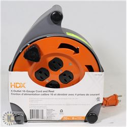 NEW HDX 4-OUTLET 16 GAUGE CORD & REEL