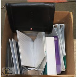 LARGE BOX OF ASSORTED BINDERS