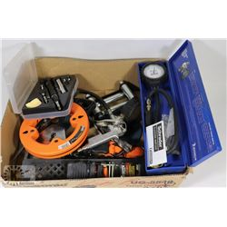 BOX OF TOOLS INCLUDING SCHRADER DIAL PRESSURE