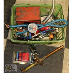 BASKET OF PLUMBING ITEMS AND MORE