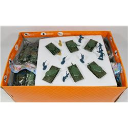 BOX OF NEW PLASTIC TOY SOLDIERS AND TANKS.