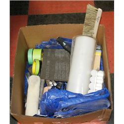 LARGE BOX OF PAINTING SUPPLIES AND TOOLS -