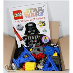 BOX WITH OVER 100 PCS OF MISC LEGO W/BOOK